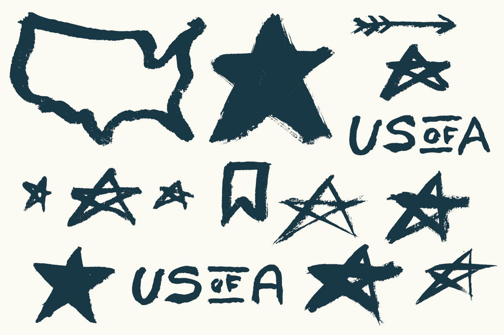 Hand painted USA vector elements