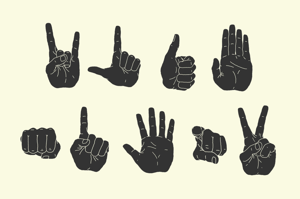 9 different hand illustrations in vector EPS format