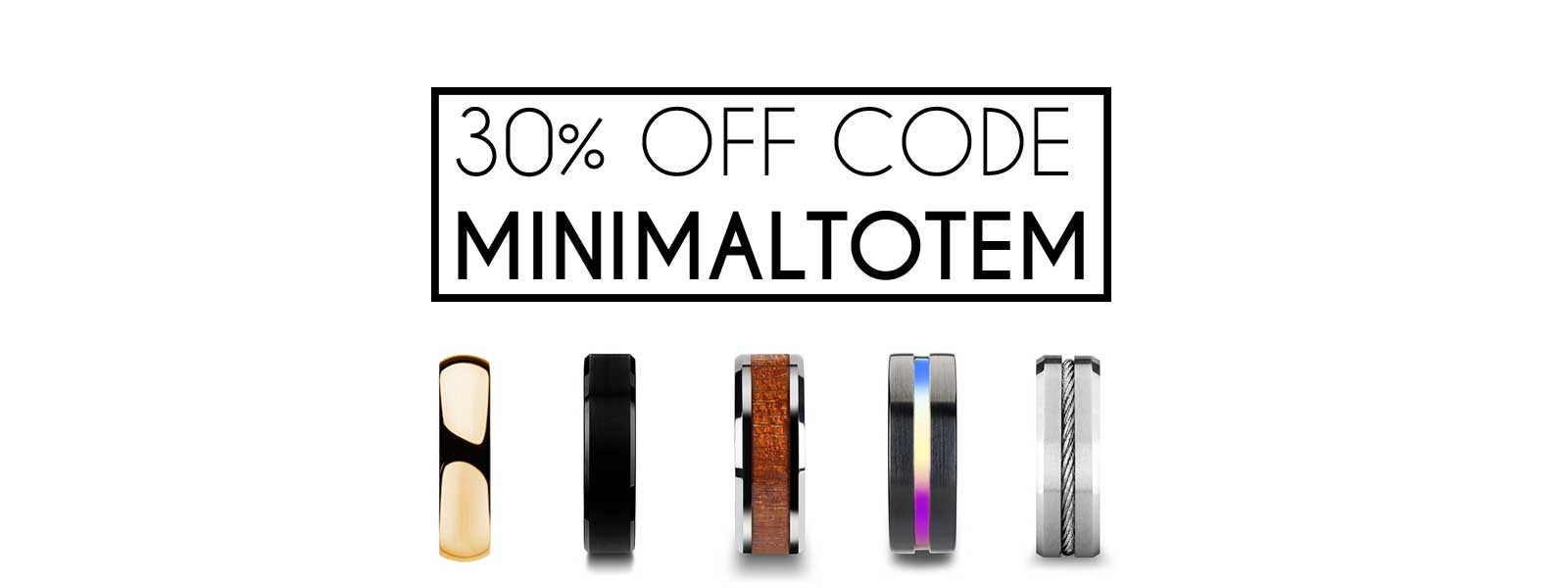 Minimal Totem | 30% Off Promotion Tungsten Bands Banner