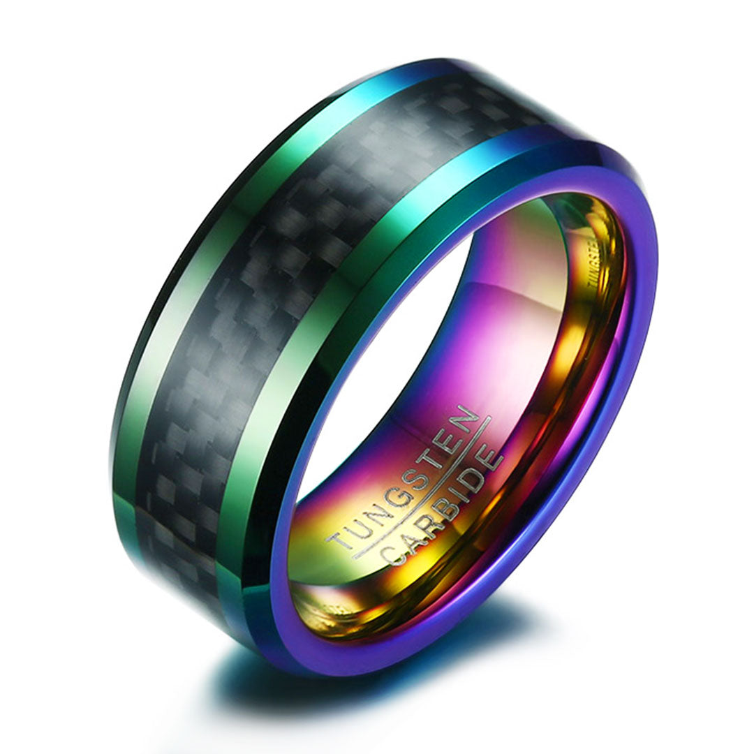 carbide band loading tungsten zoom black ring w rings raised center wedding