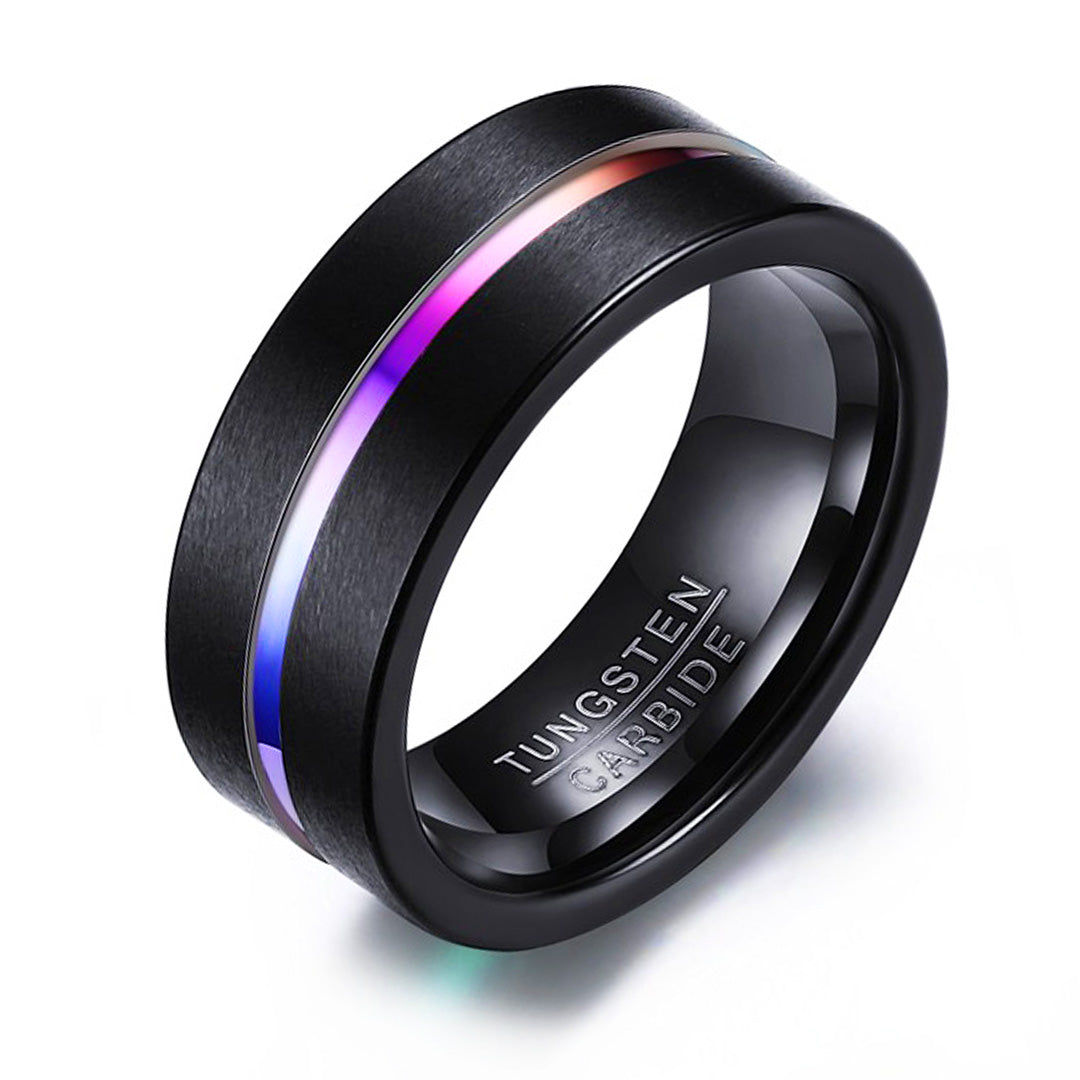 anniversary wedding brushed man mens products rose carbide matching gold rings ring black band tungsten