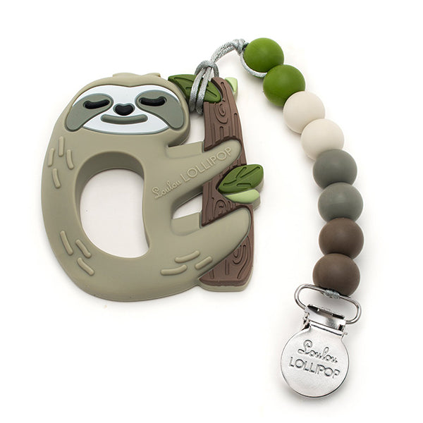 Silicone Teether with Holder Sloth