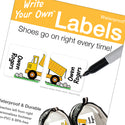 Dump Truck Shoe Labels - Write Your Own Labels