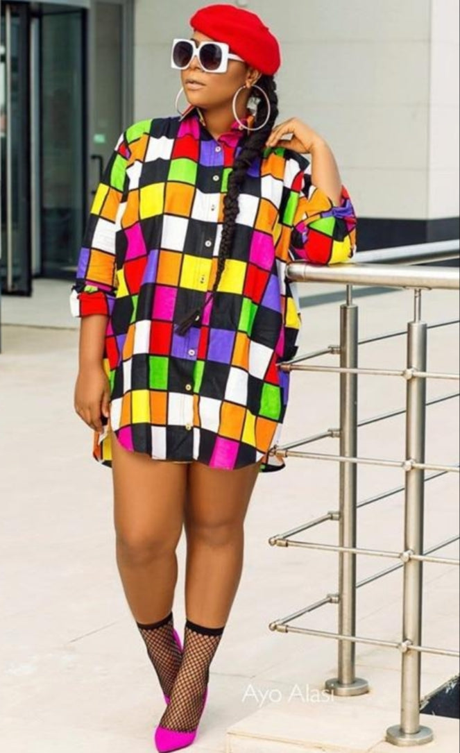 Block Color Oversize Shirt Dress