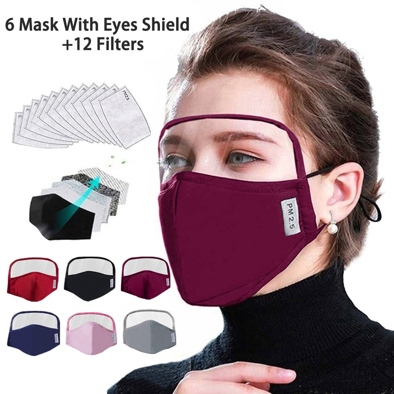 Protective Face With Eyes Shield 6 Smart WatchesMasks + 12 Filters Reusable Dustproof