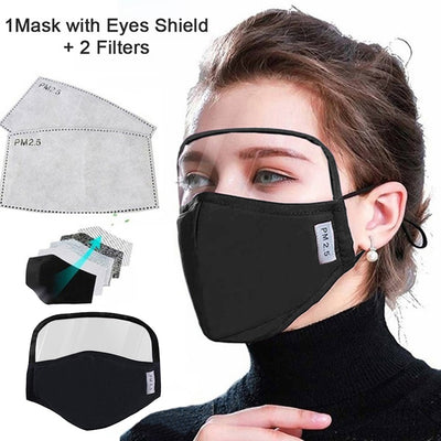 Cotton Dustproof Outdoor Face Protective Face with Eyes Shield + 2 Filters Cycling Mouth