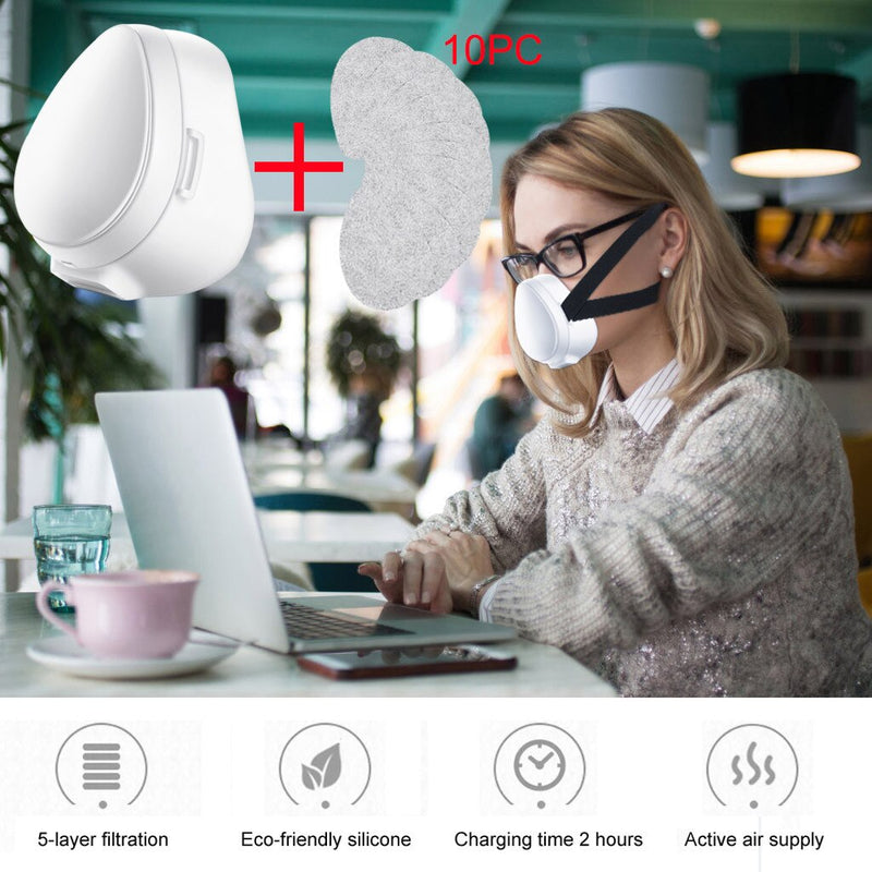 10PCS Filter Smart Electric Dustproof Face Mask