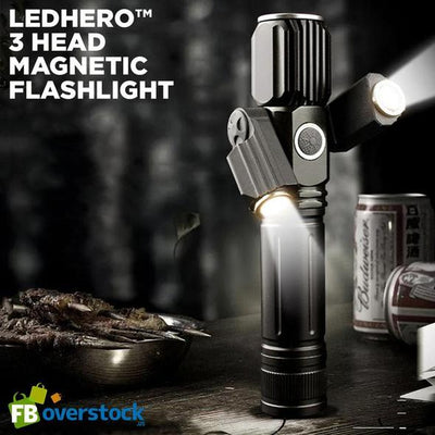 New 3-Head Magnetic Flashlight