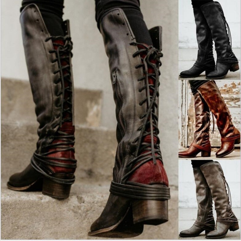 Vintage Leather Cross-Tied Lace Up Boots