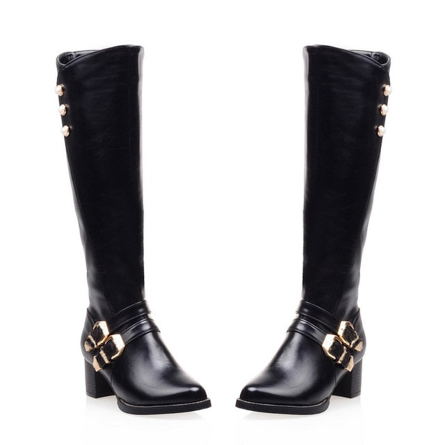 NEW Winter Zipper Buckles Knee-High Boots