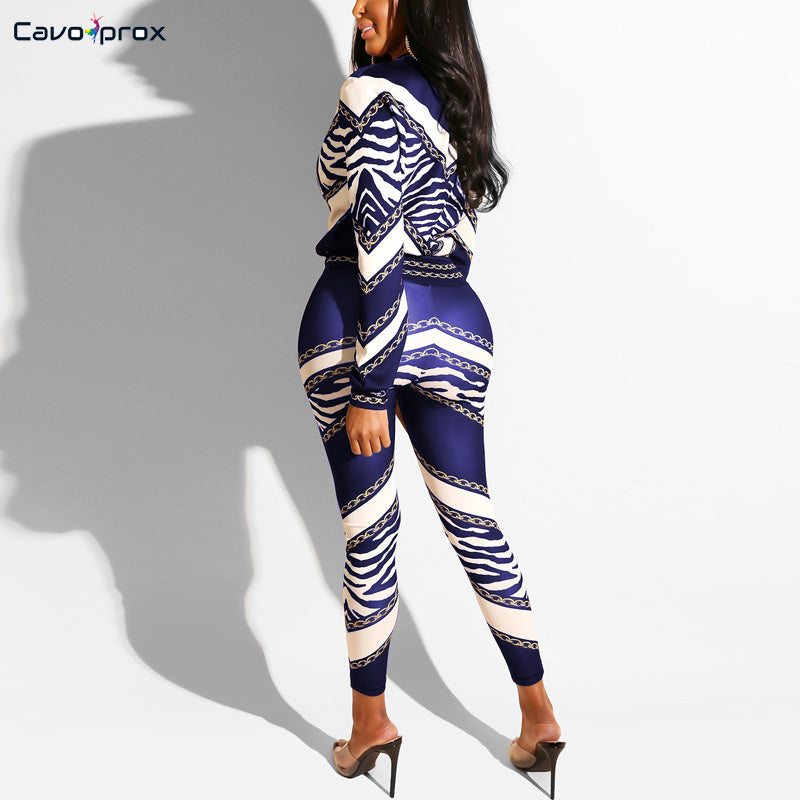 New Off The Chain Zebra Printed Two Piece Sets