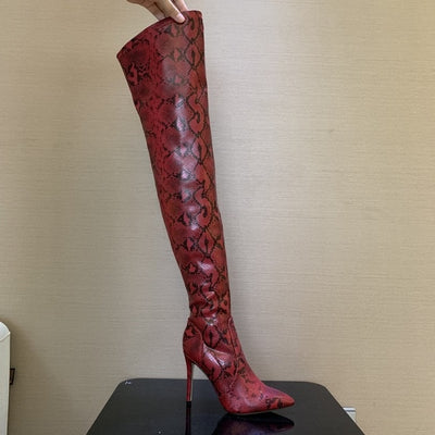 New Faux Snake Skin Leather Thigh High Boots