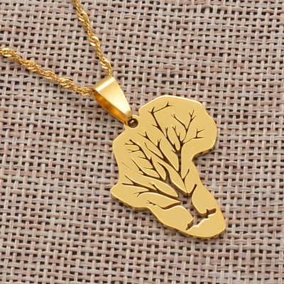 New Design Africa Map Pendant Necklaces African Roots Tree