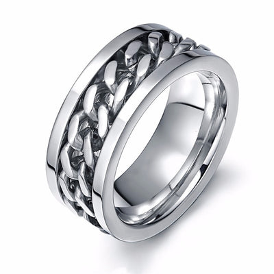 Cool Black Spinner Chain Ring for Men