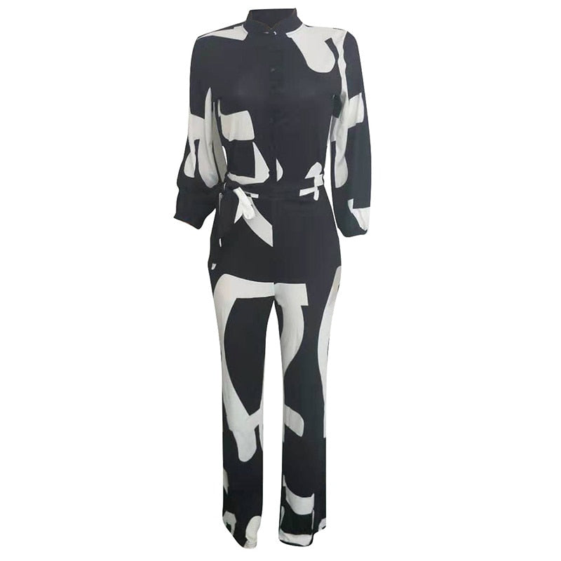 Color Block Button Up Causal Jumpsuit