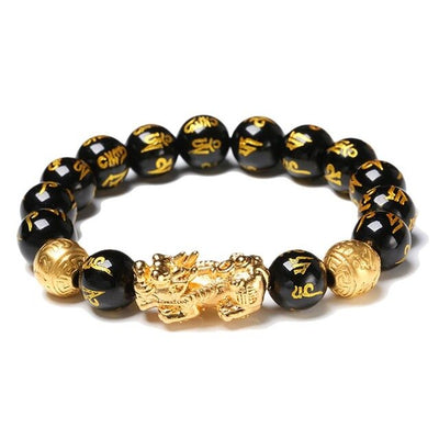 Black Obsidian Wealth Adjustable Bracelet