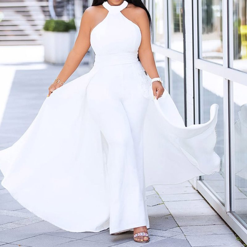 Elegant Plus Size Off Shoulder Sexy White  Jumpsuit