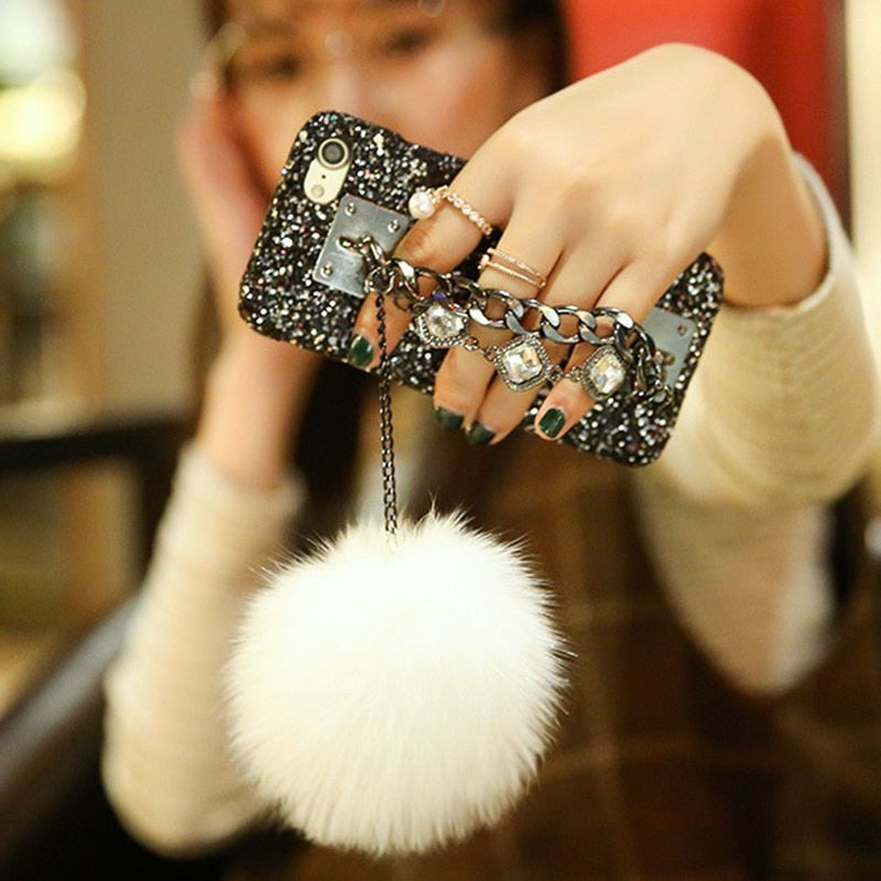 Glitter Diamond Bracelet Chain Tassel Fox Fur Ball