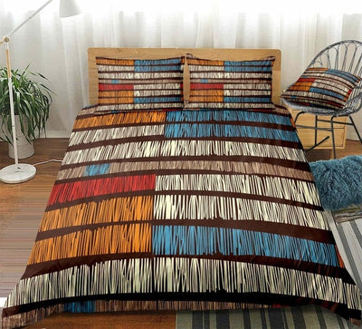 African Colorful Fringed Lines Duvet Cover Set