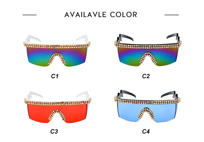 2020 Rhinestone One Piece Sunglasses
