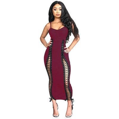 Sexy Spaghetti Strap  Ribbed Bandage Dresses