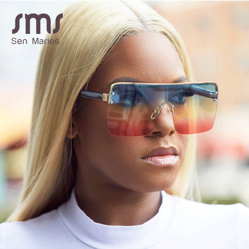 Designer Vintage Gradient  Oversized Square Sunglasses
