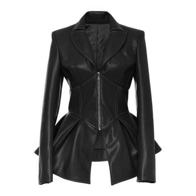Sexy High Waist Zippers  PU Leather Jacket
