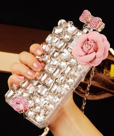 Diamond Crystal Perfume Bottle Handbag Case Cover for iPhones
