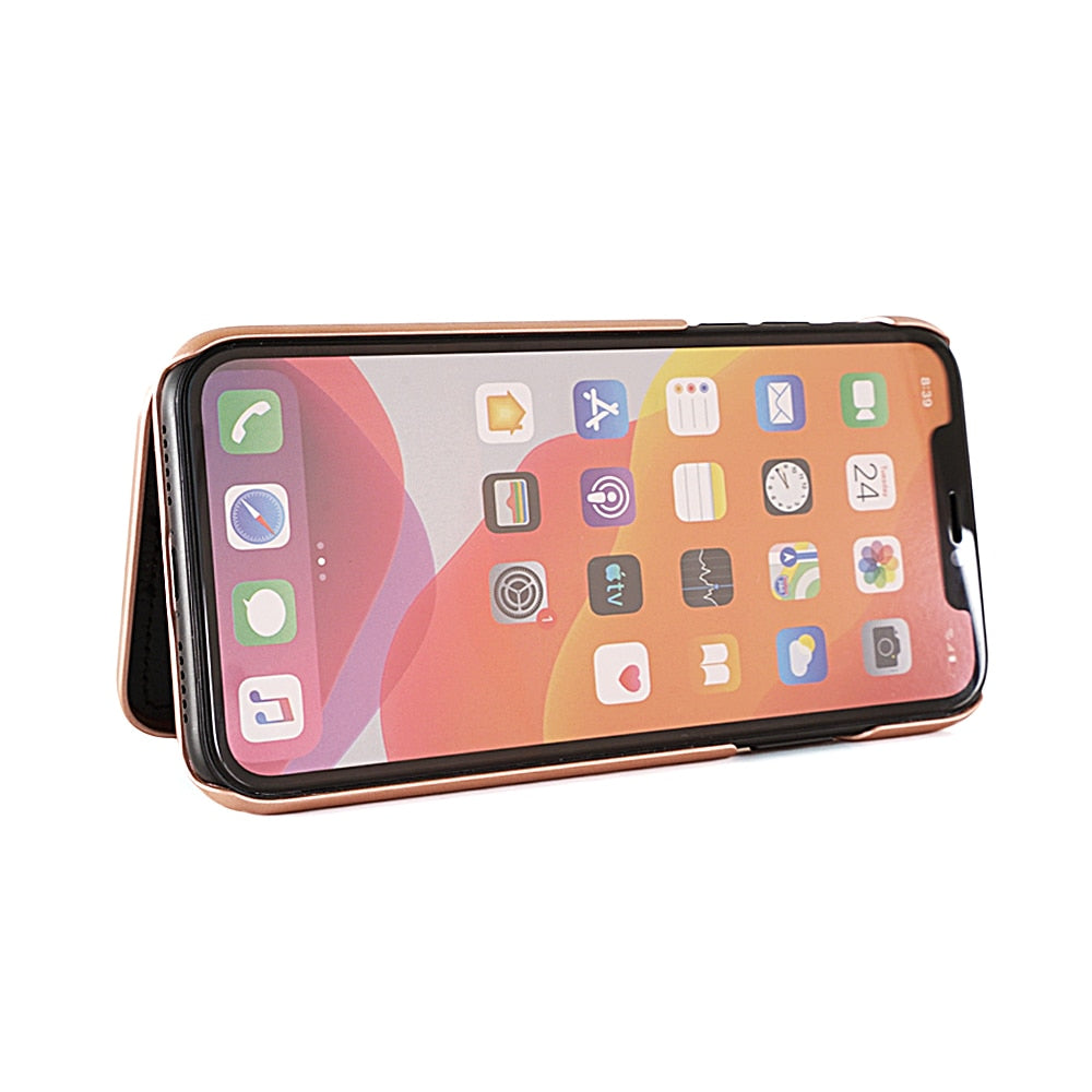 NEW Make Up Mirror Card Slot Dual Layer Flip Case For iPhones