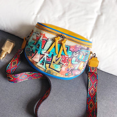 New Hiphop Cartoon Street Style Graffiti Pu Leather Messenger Bag