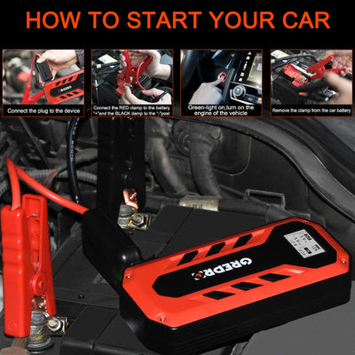 Car Jump Starter 12V Power Bank With Powerful LED Light