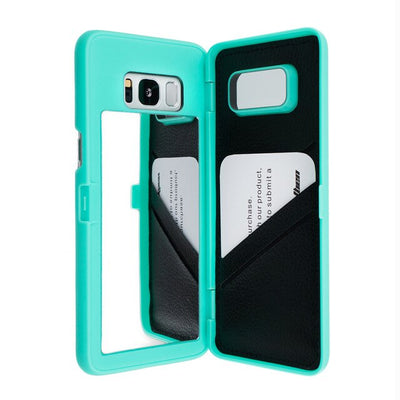 New Dual Layer Flip Card Slot Wallet Mirror Case For Samsung Galaxy S8 Plus S8 S7 EDGE, S10