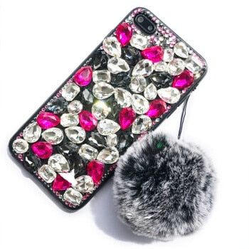 New Glitter Luxury Bling Tassel Fur Ball Case