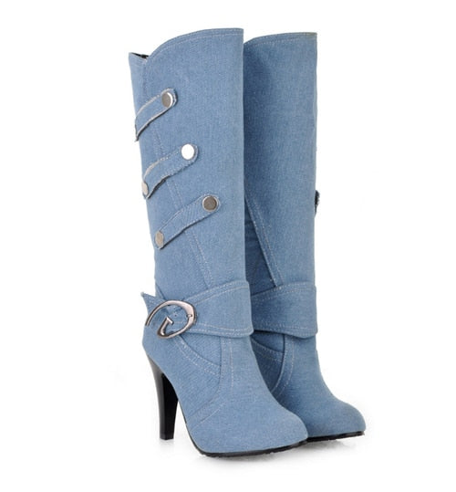 New Buckle Denim Knee-High Boots