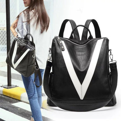 Black And White Victory Leather Backpacks