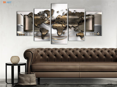World Map Abstract 5PCS Canvas