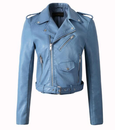 Spring Color Motorcycle Leather Jacket