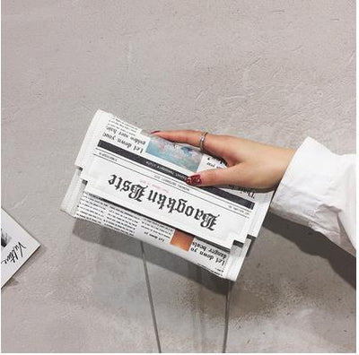 Fashion Newspaper Print Envelope Clutches