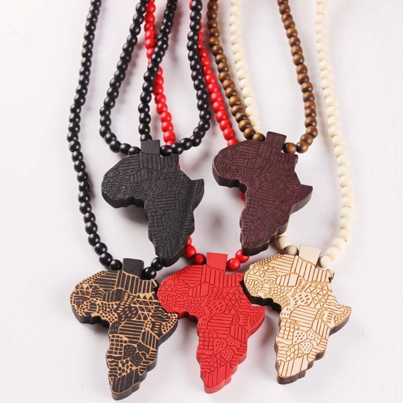 Wooden Africa Necklace Pendant & Chain African Map