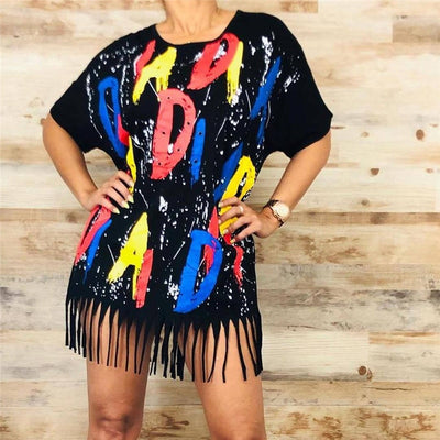 Plus Size Bold Letter Sequin T-shirt With Tassels