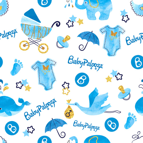 Babypalooza Wrapping Paper for Baby Shower Boy