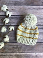 Mommy and Me Hats Knit Baby and Adult Beanie Handmade Yarn Pom Pom // STRIPES