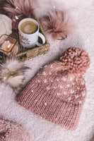 Adult Knitted Fair Isle Hearts Double Brim Beanie with Pom Pom