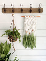 Palm Leaf Green Dip Dye Ombré Knit Wall Hanging with Copper Detail