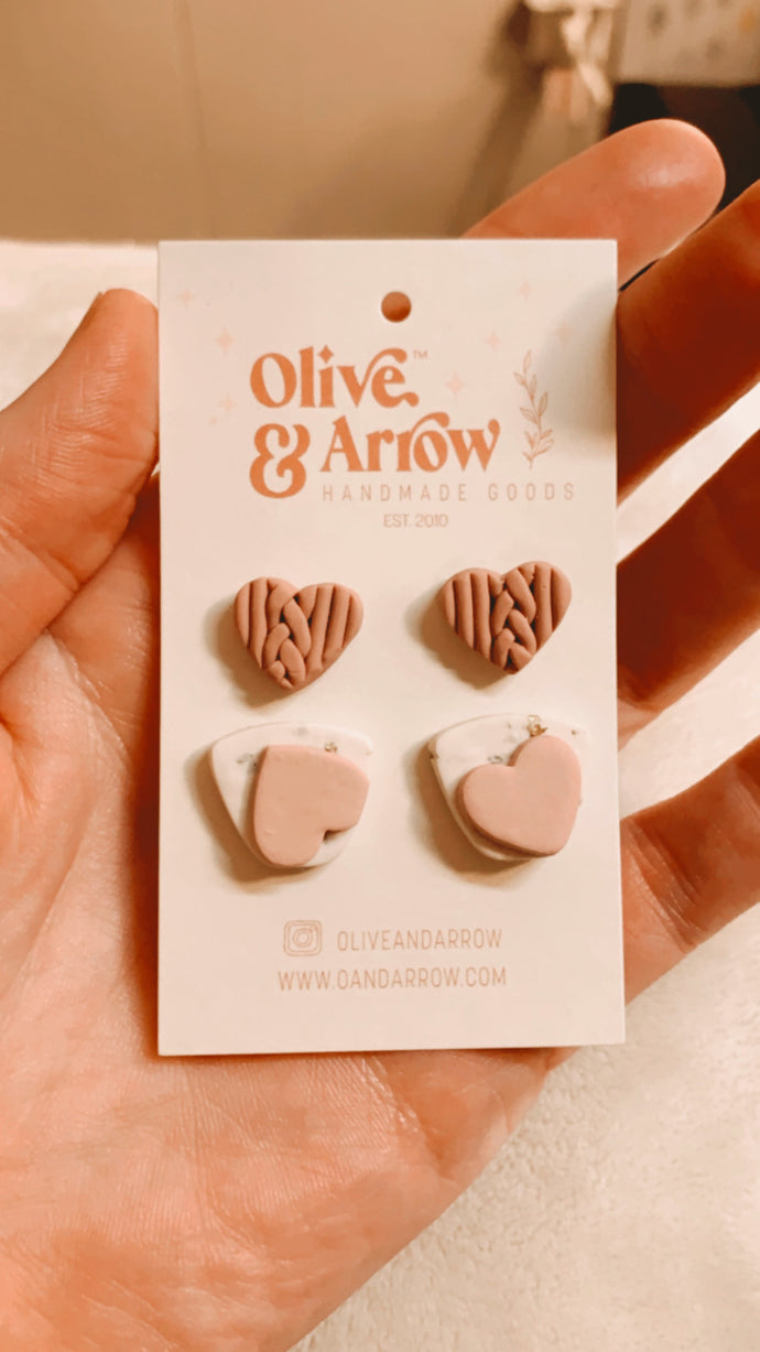 Sweater Weather Hearts + Blush Shimmer Stud Pack