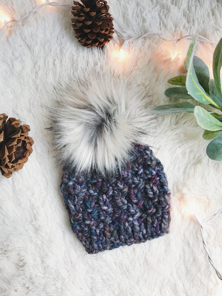Baby Knitted Textured Beanie with Faux Fur Pom Pom // The Lil Westbrook
