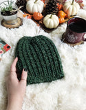 Adult Knitted Ribbed Beanie NO Pom // The Rockland
