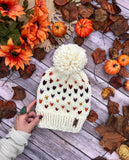 Adult Knitted Fair Isle Hearts Beanie with Yarn Pom Pom // Retro Rainbow Hearts