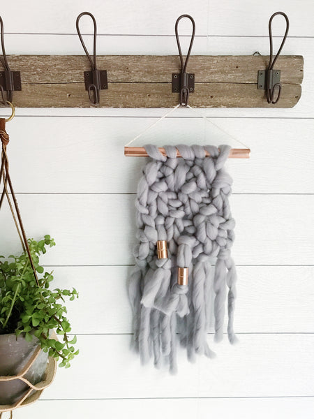 Mini Smoke Grey Knit Wall Hanging with Copper Detail
