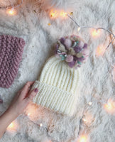 Adult Knitted Ribbed Foldover Brim Beanie with Pastel Pom Pom